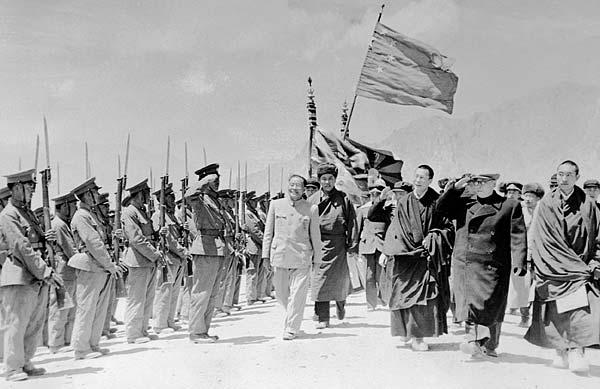 Review of a Tibetan guard of honour in Lhasa, 1956