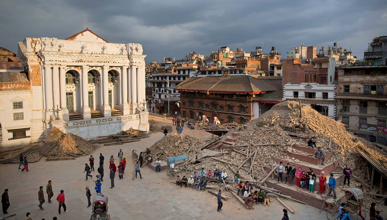 Earthquake devastation in Basantapur Durbar Square, Kathmandu