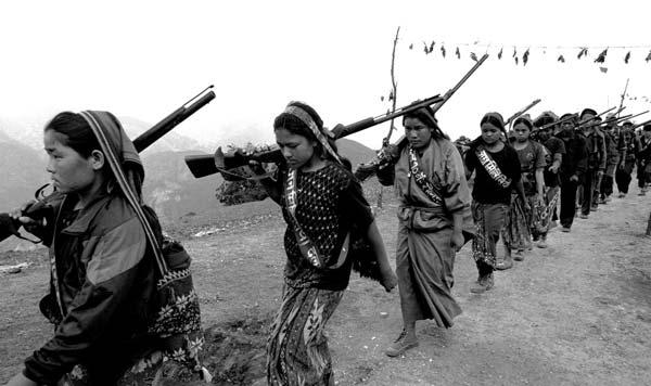 A women's brigade of Maoist rebels, 2001