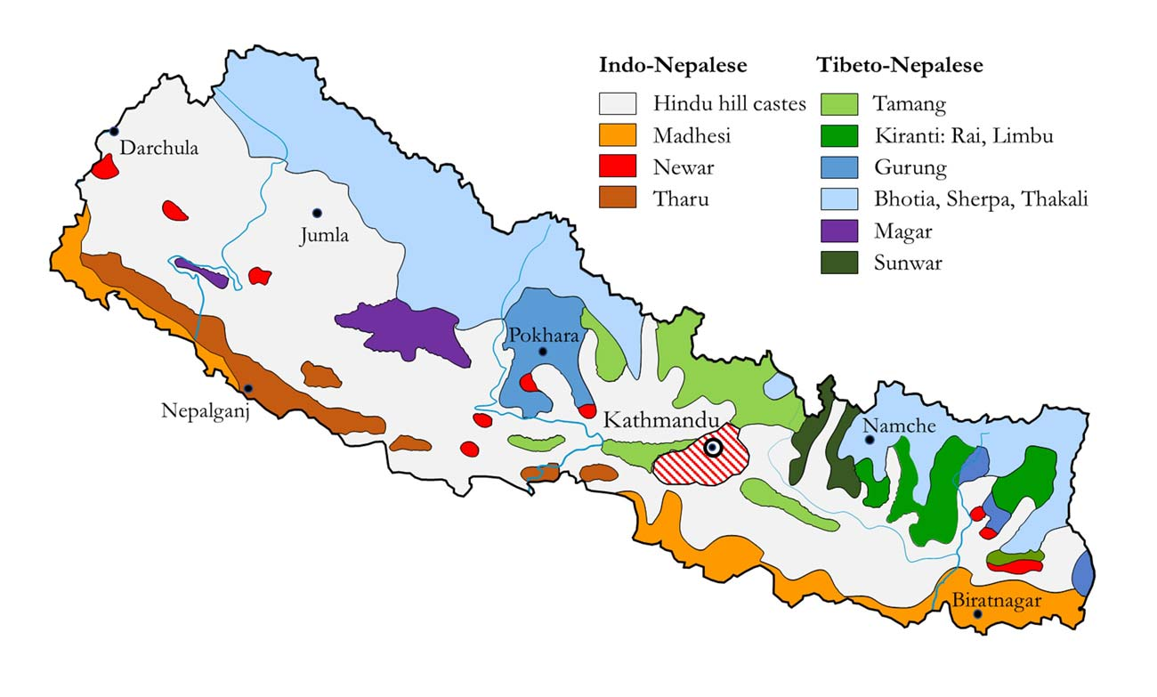 Main ethnic groups in Nepal map