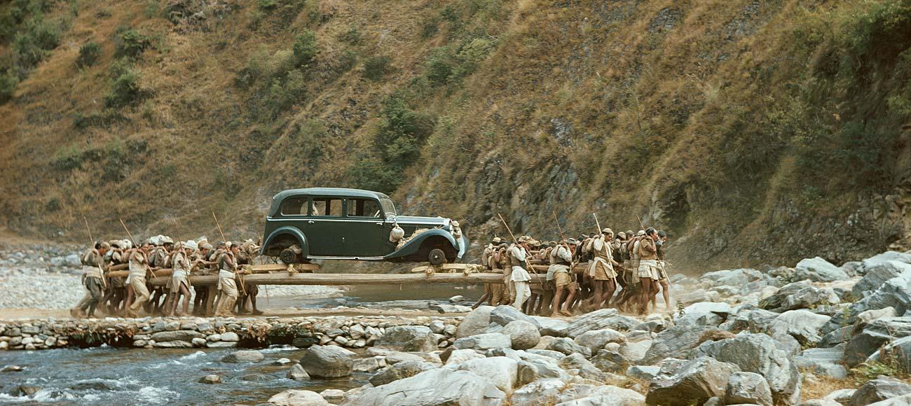 Transporting cars to Kathmandu, 1948