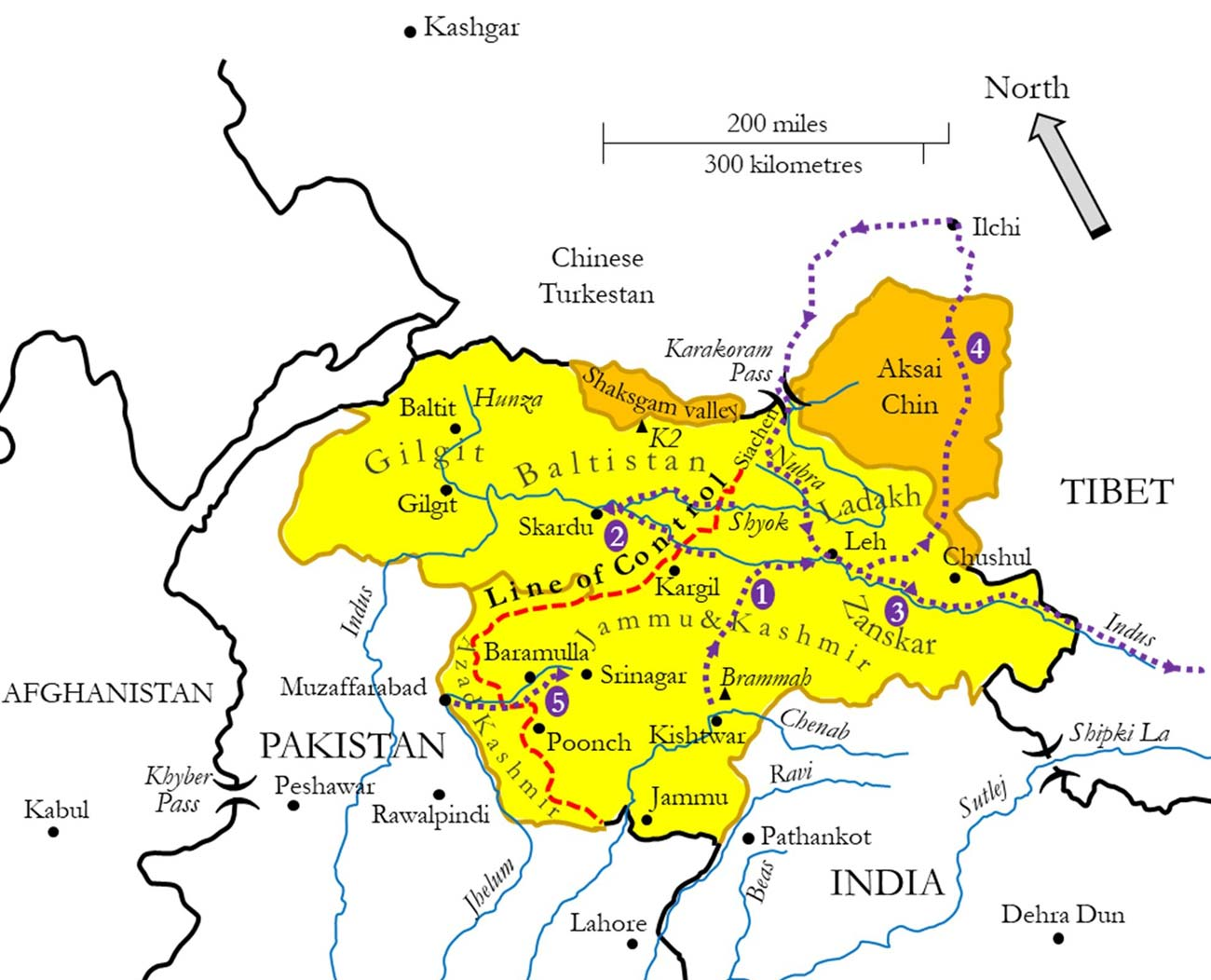Kashmir disputed territories map
